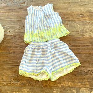 Tank shorts GAP outfit 2T blue/white stripes neon